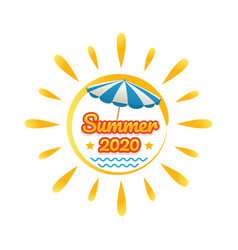 summer beach banner with sun vector image