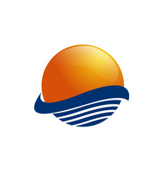 sun over sea waves sun and sea sun logo icon vector image