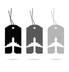 tag travel with airplane set in white and black vector image