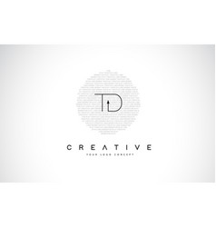 Td t d logo design with black and white creative vector