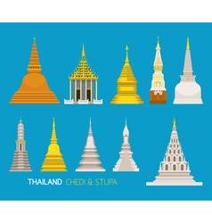 Thailand Buddhist Pagodas Objects Set vector