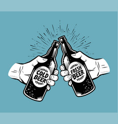 Toasting with beer alcoholic drink brewing pub vector