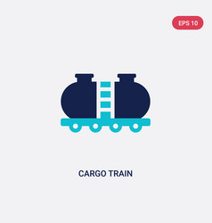 two color cargo train icon from delivery and vector image