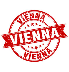 Vienna red round grunge vintage ribbon stamp vector