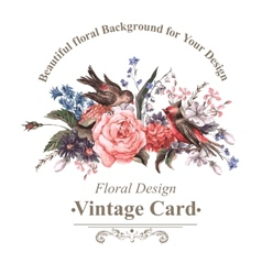Vintage greeting card with flowers and birds vector