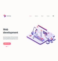 web development technology isometric landing page vector image