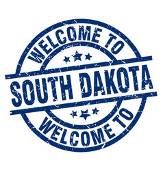 welcome to south dakota blue stamp vector image