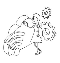 woman and technology isometric in black and white vector image