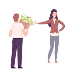 Woman rejecting feelings loving man young man vector