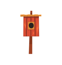 Wooden bird house nesting box cartoon vector