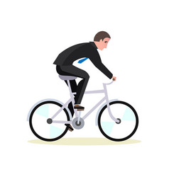 businessman is riding a bicycle to work vector image vector image