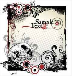 grunge skull background vector image