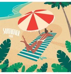 Nice woman sunbathing by the sea vector image vector image