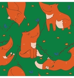 Seamless pattern of hand drawn cute ginger foxes vector