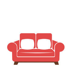 sofa icon in red and white colors isolated vector image