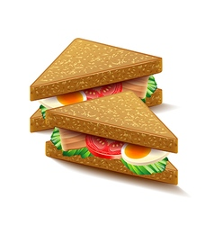 Triangular sandwiches isolated on white vector