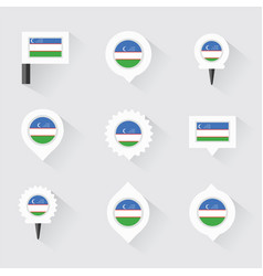 uzbekistan flag and pins for infographic and map vector image vector image
