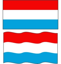 Flat and waving Luxembourg Flag vector image