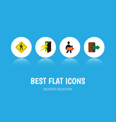flat icon emergency set of directional exit open vector image