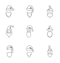 Santa Claus hat icons set outline style vector image vector image