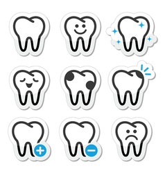 Tooth dental icons set vector image vector image