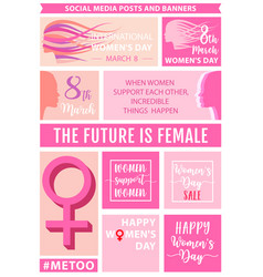 womens day social media posts set vector image vector image