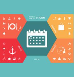calendar icon with check mark vector image