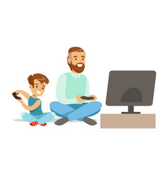 father and boy sitting on the floor with joysticks vector image