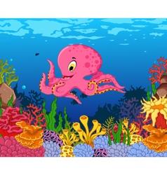 funny octopus cartoon with beauty sea life backgro vector image