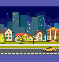 night city cartoon with road vector image vector image