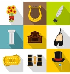 Theatrical performance icons set flat style vector