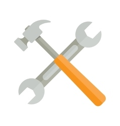 wrench and hammer on white background vector image vector image
