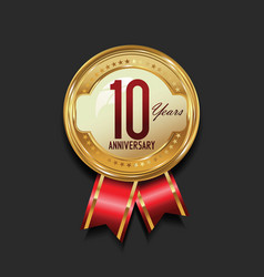 anniversary golden badge with golden ribbon 10 vector image