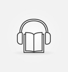 book with headphones icon vector image