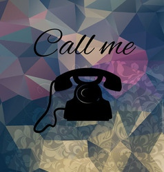 Old phone on the background of colored triangles vector image vector image