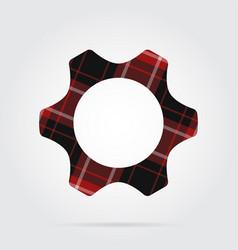 Red black tartan isolated icon - cogwheel vector