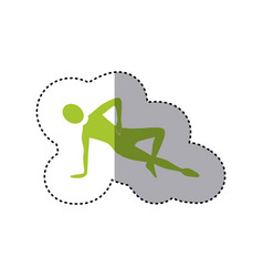 Sticker green silhouette woman stretching with vector