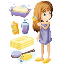 Woman combing hair and bathroom set vector image vector image