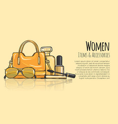 women items and accessories yellow female objects vector image vector image
