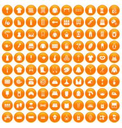 100 needlework icons set orange vector