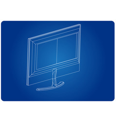 3d model of the monitor on a blue vector image