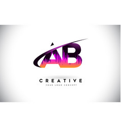Ab a b grunge letter logo with purple vibrant vector