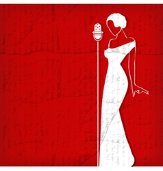 Abstract retro girl on red vector