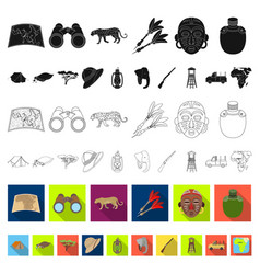 african safari flat icons in set collection for vector image