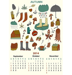 Autumn calender September October November Three vector