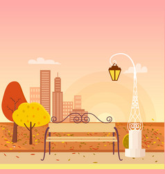Autumn city park panorama vector