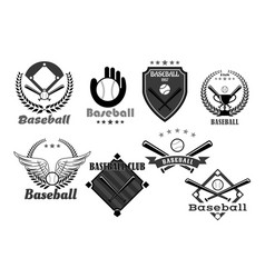 Baseball club icons or championship symbols vector