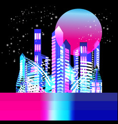 beautiful trendy illuminated city at night vector image