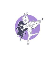 beauty fairy line art for your logo label emblem vector image