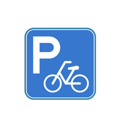 bicycle park area sign in blue square frame vector image